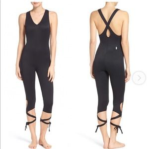 Free People Movement Black Shakeout Bodysuit Med